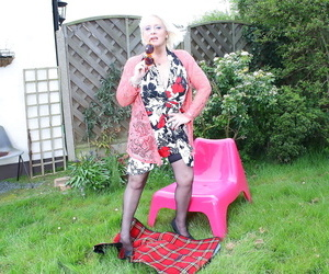 Horny british housewife getting messy in the garden - part..