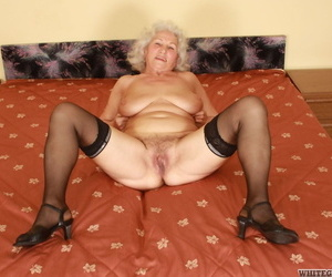 White haired granny Dillon Dayopens her legs for youthful..