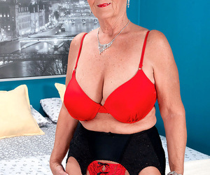 Naughty oma Joanne Price rides on top of Latino toy boys..