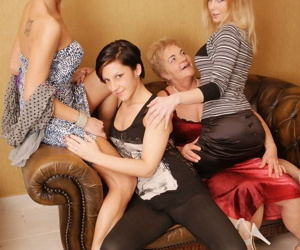 Old and young lesbos pleasure each other during an all..
