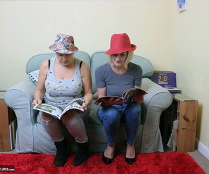 2 old lesbos reveals their huge boobs and nude booties..