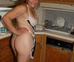 Experienced blonde lady Ivee demonstrating off thong..