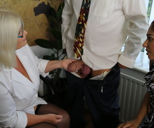 Nasty old girl helps a junior couple solve their..