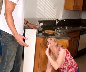 Naughty grandma Lin Boyde seducing junior Latino guy for..