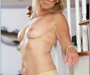 Puckered yet sexy and flexy granny Annabelle Brady..