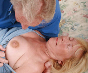 Horny senior citizen Angeline and her hubby still fucking..