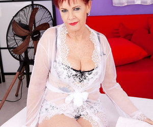 Granny with crimson hair Caroline Hamsel gets seduced and..