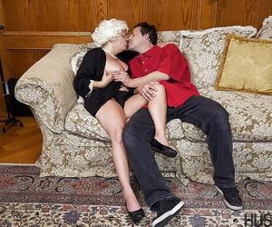 Granny model Karen Summer rides younger mans cock before..