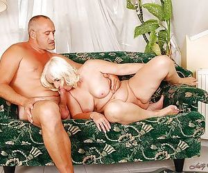 Lascivious fatty granny gives a blowjob and gets her..
