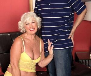 Horny grandma Jeannie Lou tempts a junior Latina masculine..