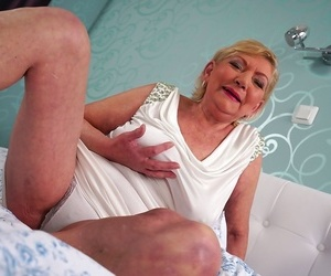 Thick grandmother Irene bares her saggy knockers before..