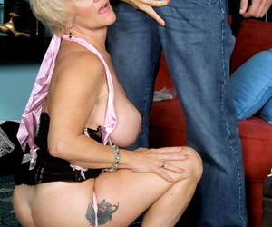 Busty blond granny Fate Anne seduces and blows a guy in..
