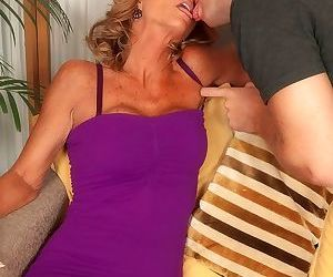 Sexy granny Opportunity Evans and her toy fellow fuck up a..