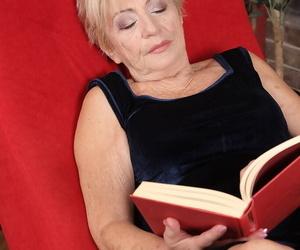 Naughty old granny Maya Lambert on knees sucking dick &..
