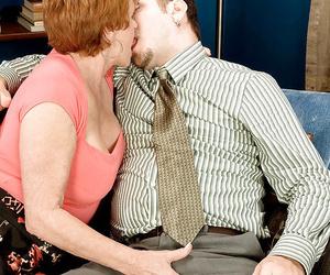 Redhead granny Valerie instructing a junior stud on finer..