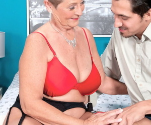 Short haired grandmother Joanne Price gives her youthful..
