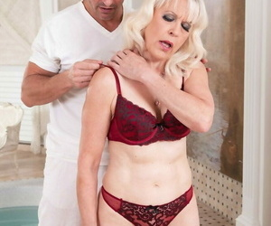 Older light-haired chick woman s is stripped and boinked..