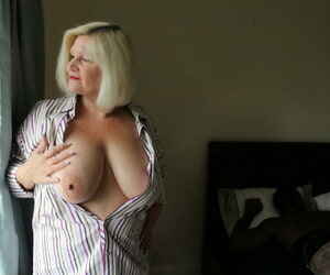 Gorgeous light-haired granny Lacey Starr gets blacked..