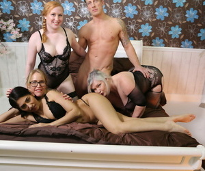 Kinky granny Lacey Starr sharing a big hard-on with wild..