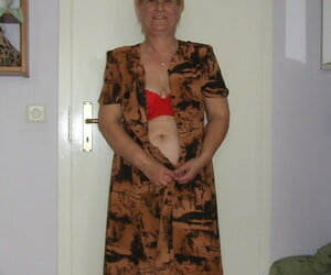 Fatty granny with saggy boobs eliminates red lingerie and..