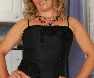 Obscene light-haired granny in black lingerie Jazmin gets..