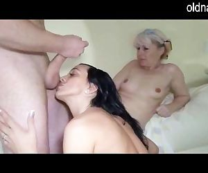 Old lady and young girl trying blowjob and handjob