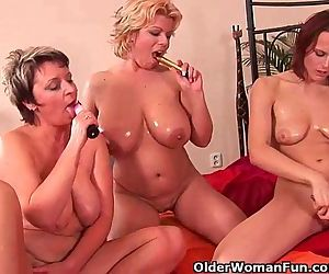 Grandma And Two Soccer Moms Masturbating And Dildoing