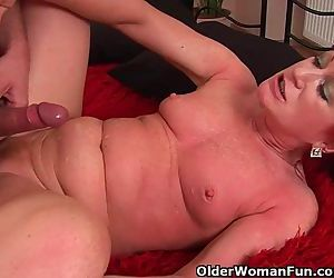 Red Hot Granny With Small Tits Rides Cock
