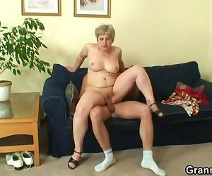 Lonely old granny gives head and rides his cock