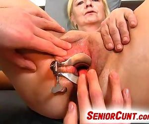 Grandma pussy opened up with a speculum feat. granny Vera