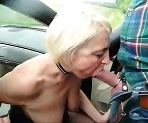 Submissive slut granny used by stranger in highway car park - 1 min 42 sec