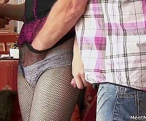 Old mom and dad seduce and bang their sons GF - 6 min