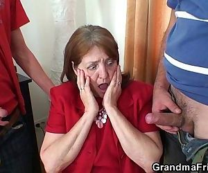 Two fresh cocks for office granny - 6 min