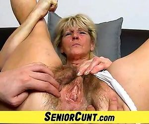 Hairy old pussy close-ups and fingering with grandma Hanna - 6 min