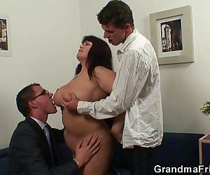 Huge titted bitch takes two cocks after photosession - 6 min