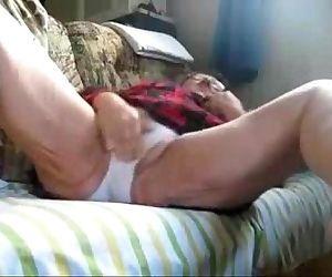 My granny still loves to masturbate. Hidden cam - 1 min 27 sec