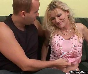 Older mom with big tits and hairy pussy gets facial - 6 min HD