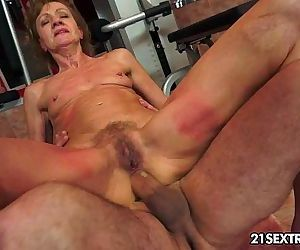 Grandma rides on a huge young cock. - 10 min HD