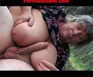 Busty old granny does blowjob titjob Vecchia nonna tettona fa pompini - 8 min