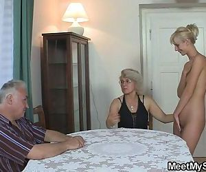 The girlfriend fucks his whole family - 6 min