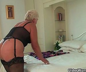 Chubby granny in black stockings masturbates - 5 min HD