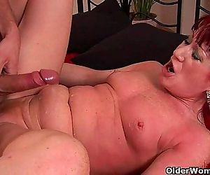 Red hot granny with small tits rides cock - 5 min HD