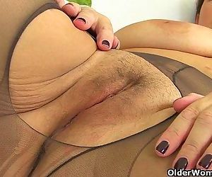 British milfs Eva Jayne and Georgie Nylons in PVCHD