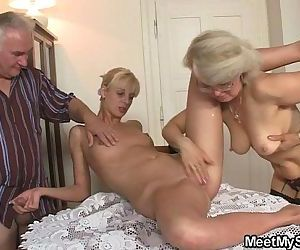 His GF and parents in hot threesome - 6 min