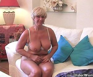 Chubby grandma with big old tits fucks a vibrator - 5 min HD