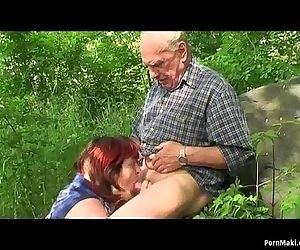 Granny and Grandpa fuck outdoor - 6 min