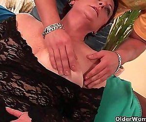 Sexy grandma enjoys his cock in her mouth and hairy pussy - 5 min HD