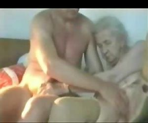 Very old granny used by young man. Real amateur - 1 min 32 sec