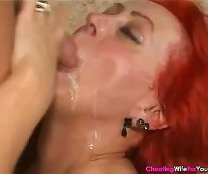 Red Hair Housewife Ridding on Young Cock