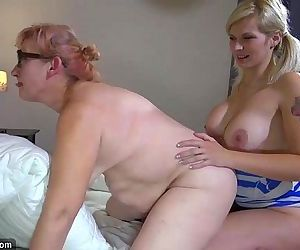 OldNanny Two horny lesbian woman is enjoying with strapon - 8 min HD
